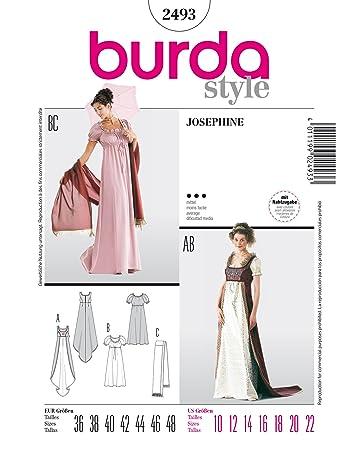 Burda 2493 Schnittmuster KostŸm Fasching Karneval Empire-Kleid ...