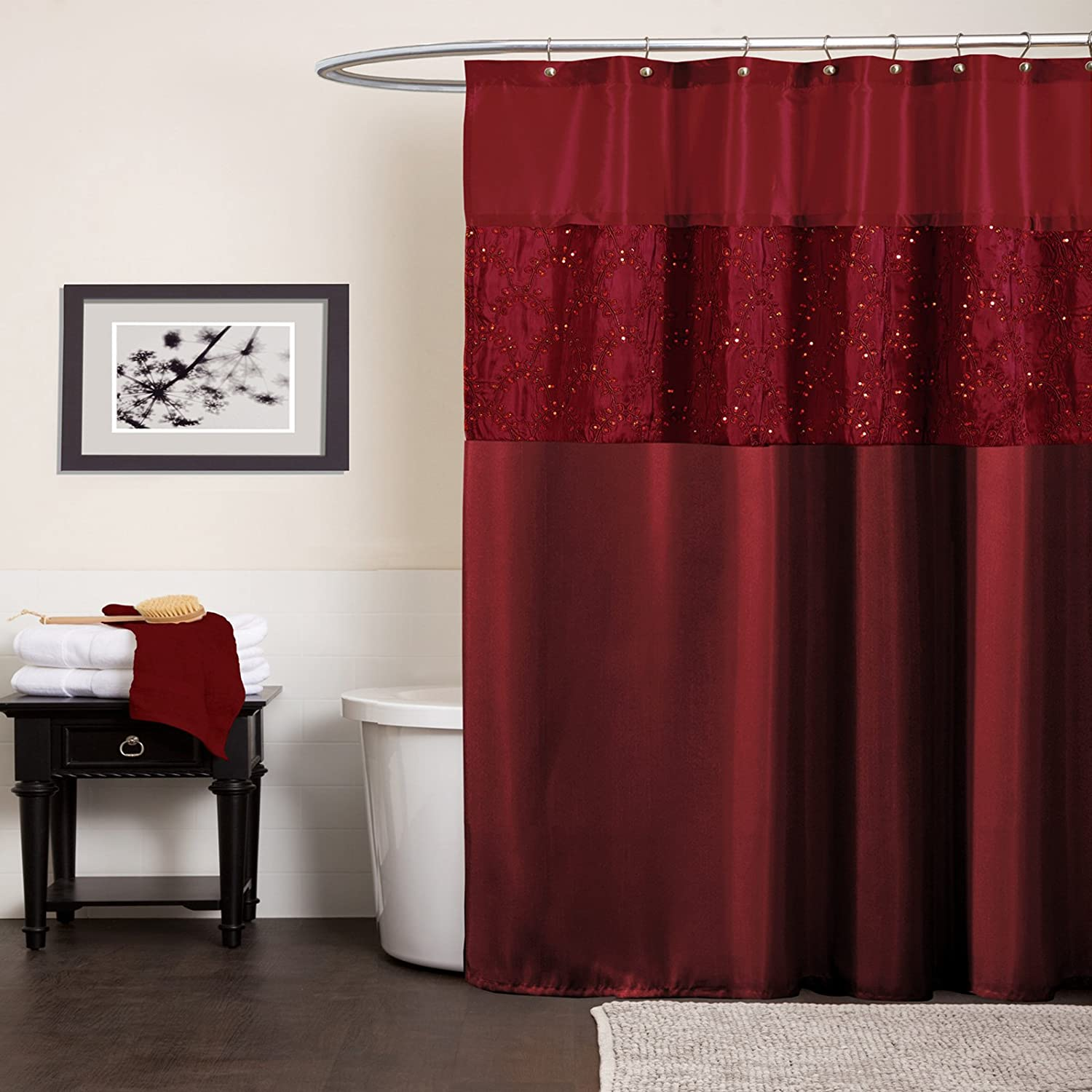 Amazon.com: Lush Decor Maria Shower Curtain, Red: Home & Kitchen