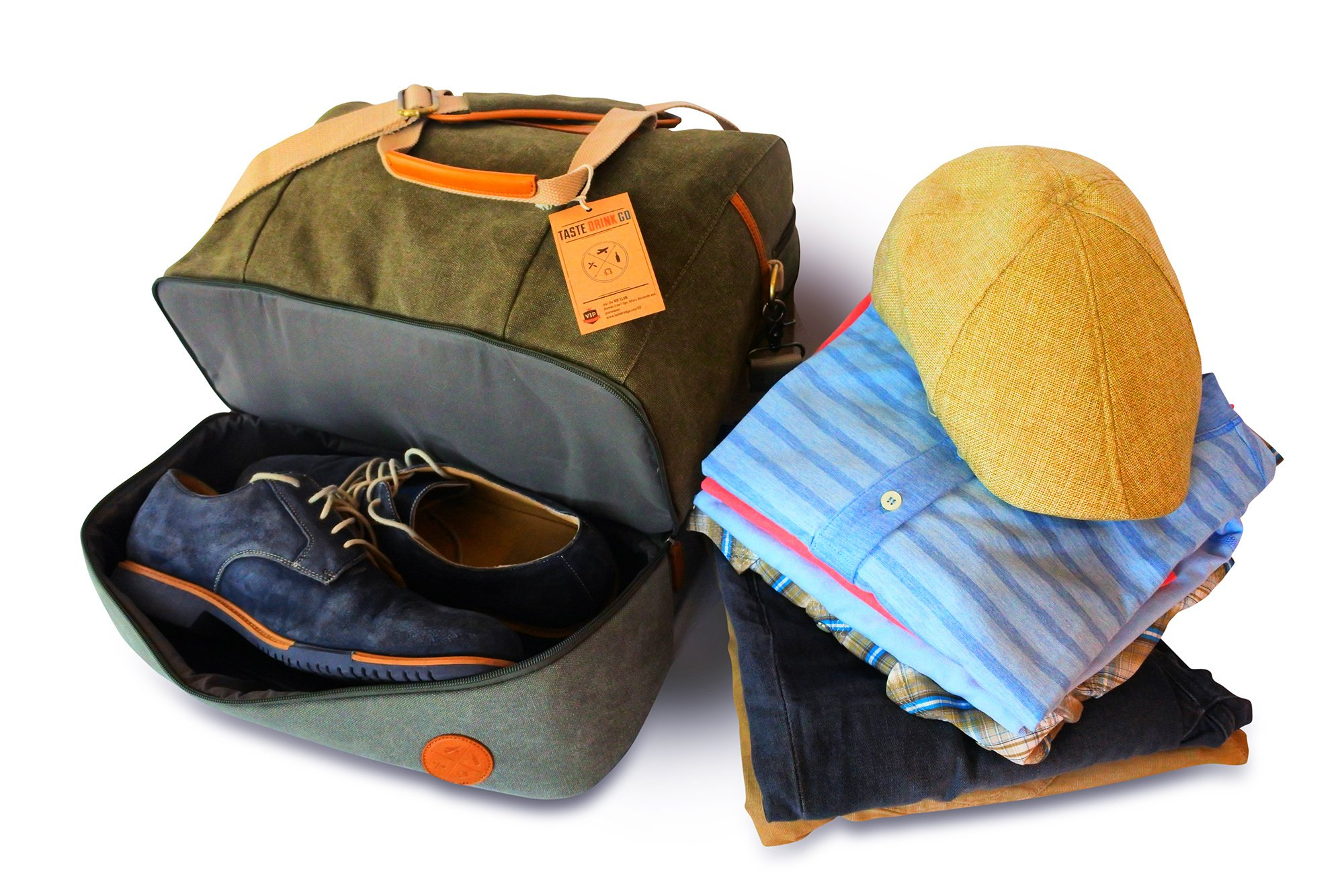 4 Piece Weekend Travel Bag Set - Includes: Canvas Tote, Toiletry Kit, Ipad Wristlet and Weekender Shoulder Bag. Weekend Travel made simple by TASTE DRINK GO. Makes a great Gift! by Taste Drink Go (Image #2)