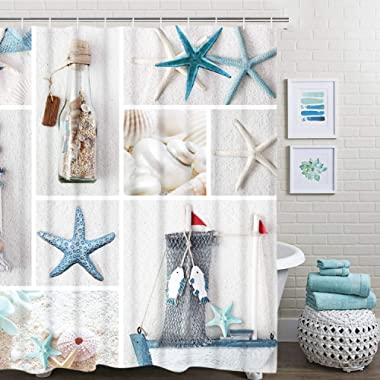 BLEUM CADE Nautical Shower Curtain Marine Sail Boat Beach Starfish Shell Sea Life Bathroom Decor Bathroom Accessory with Hooks