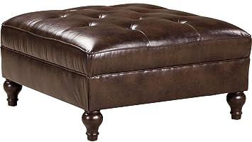Brilliant Amazon Com Ashley Alma Bay Oversized Square Leather Ottoman Andrewgaddart Wooden Chair Designs For Living Room Andrewgaddartcom