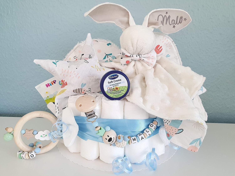 Baby Geschenk Windeltorte XXXL Kuscheltier Hase Hoppi Schnullerkette /& Greifling Spucktuch Geburt M/ädchen mit Name