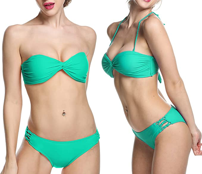 d36c119571e27b Amazon.com  Ekouaer Sexy Twist Bandeau Bikini Set Push Up Padded Swimwear  Swimsuit for Women  Clothing