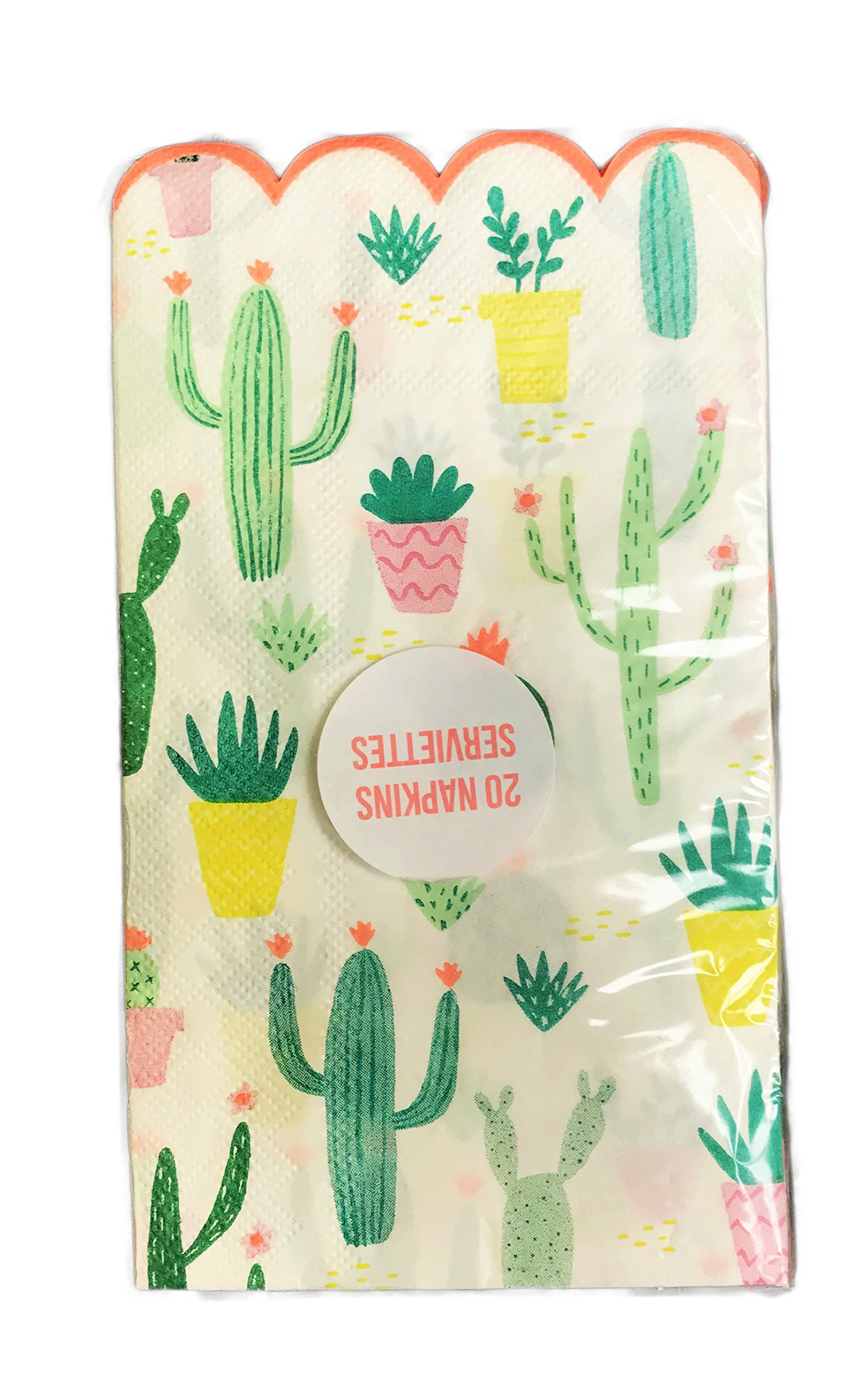 Southwest Cacti Themed Scalloped Edge 20 Pack Novelty Paper Party Beverage Luncheon Napkins (7.75 x 4.25)