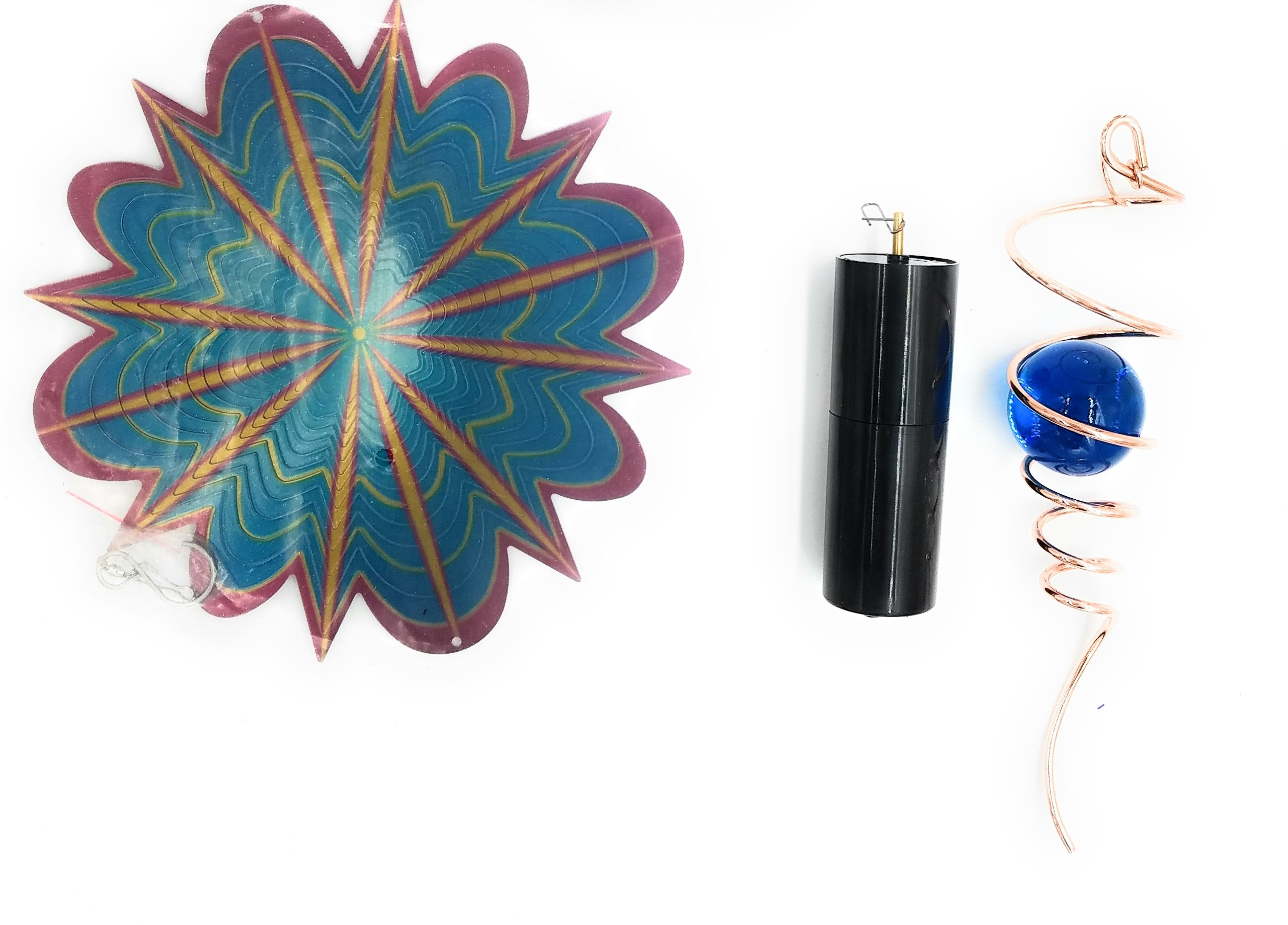 Multi-Color Star Splash Wind Spinner With Blue Ball Copper Tail And Battery Motor