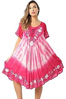 c356eb27d5a Riviera Sun Tie Dye Summer Dress with Raglan Eyelet Sleeve   Embroidery