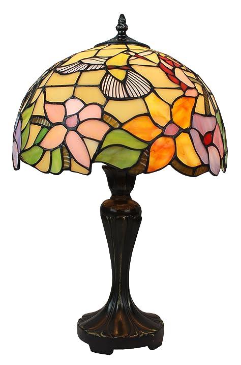 Amora Lighting AM1112TL12 Tiffany Style Hummingbird Table Lamp 19 In