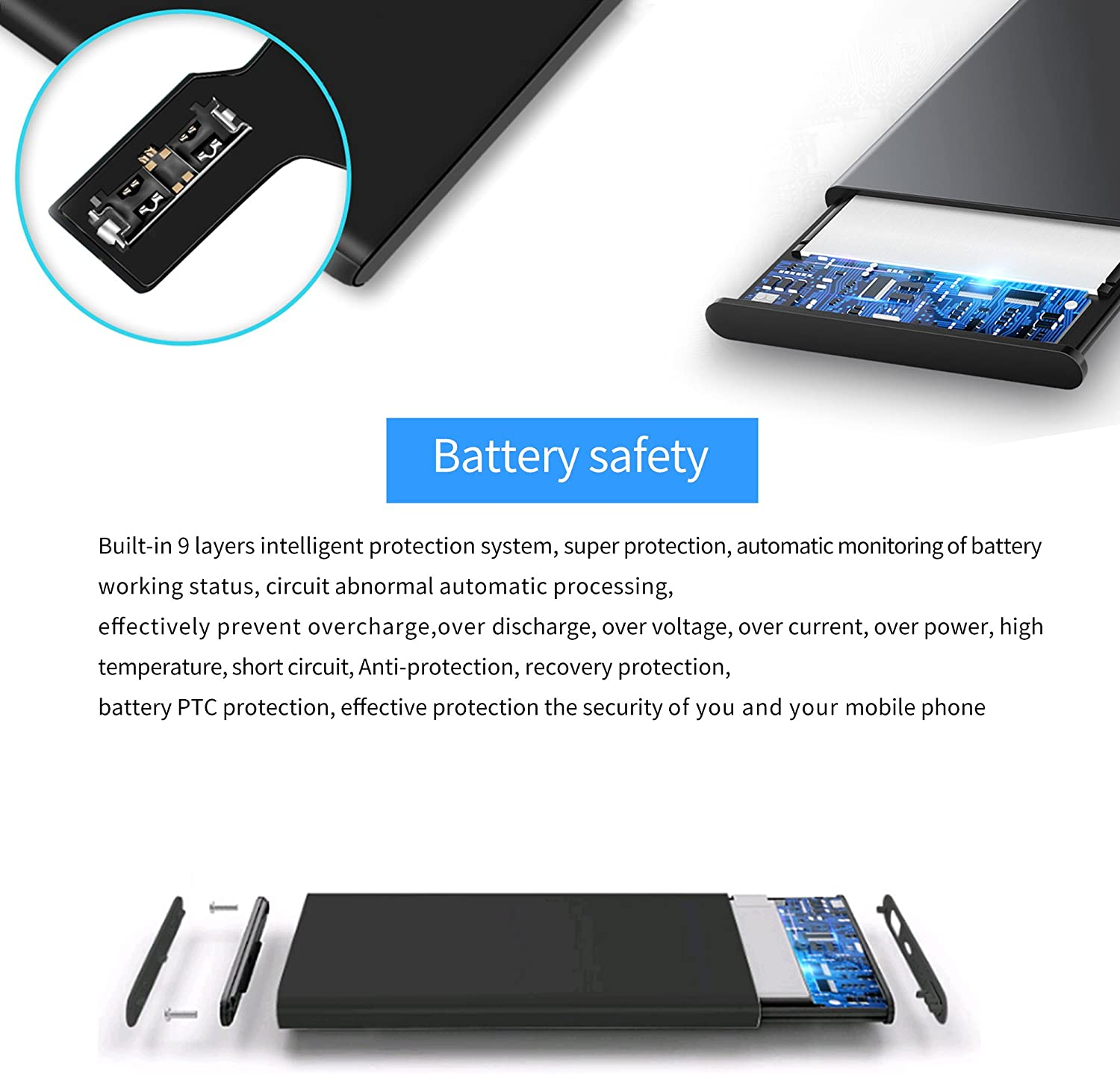 Phone Replacement Battery 2100mAh 6S High Capacity Rechargeable Replacement Battery with Repair Tools Kits Replace Battery with 24 Months Quality Assurance