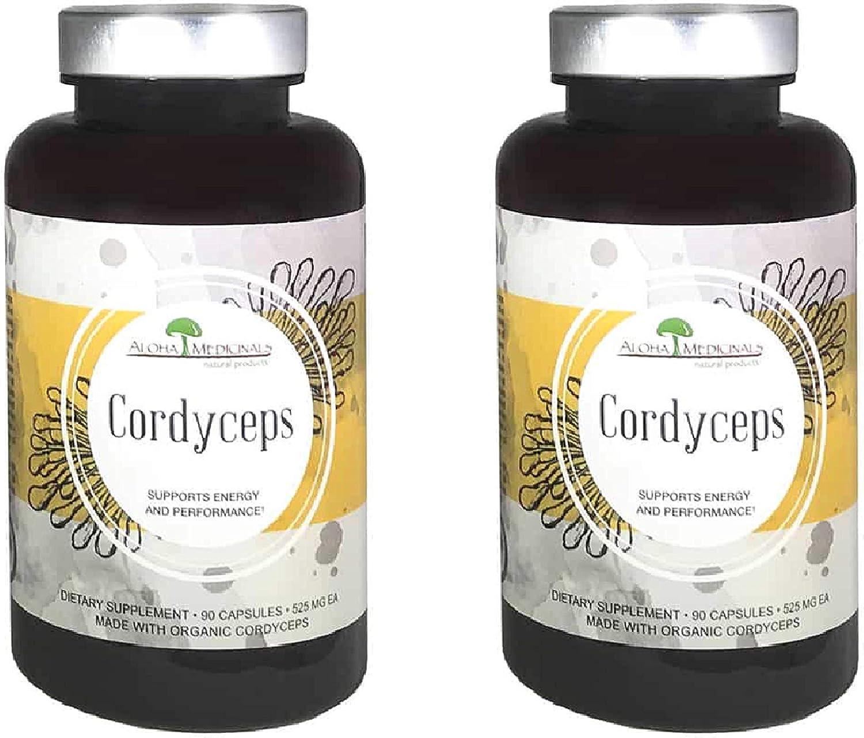 Aloha Medicinals – Pure Cordyceps – Certified Organic Mushrooms Cordyceps Militaris Cordyceps Sinensis – Supports Immunity, Energy and Stamina – 525mg – 90 Vegetarian Capsules 2 Pack