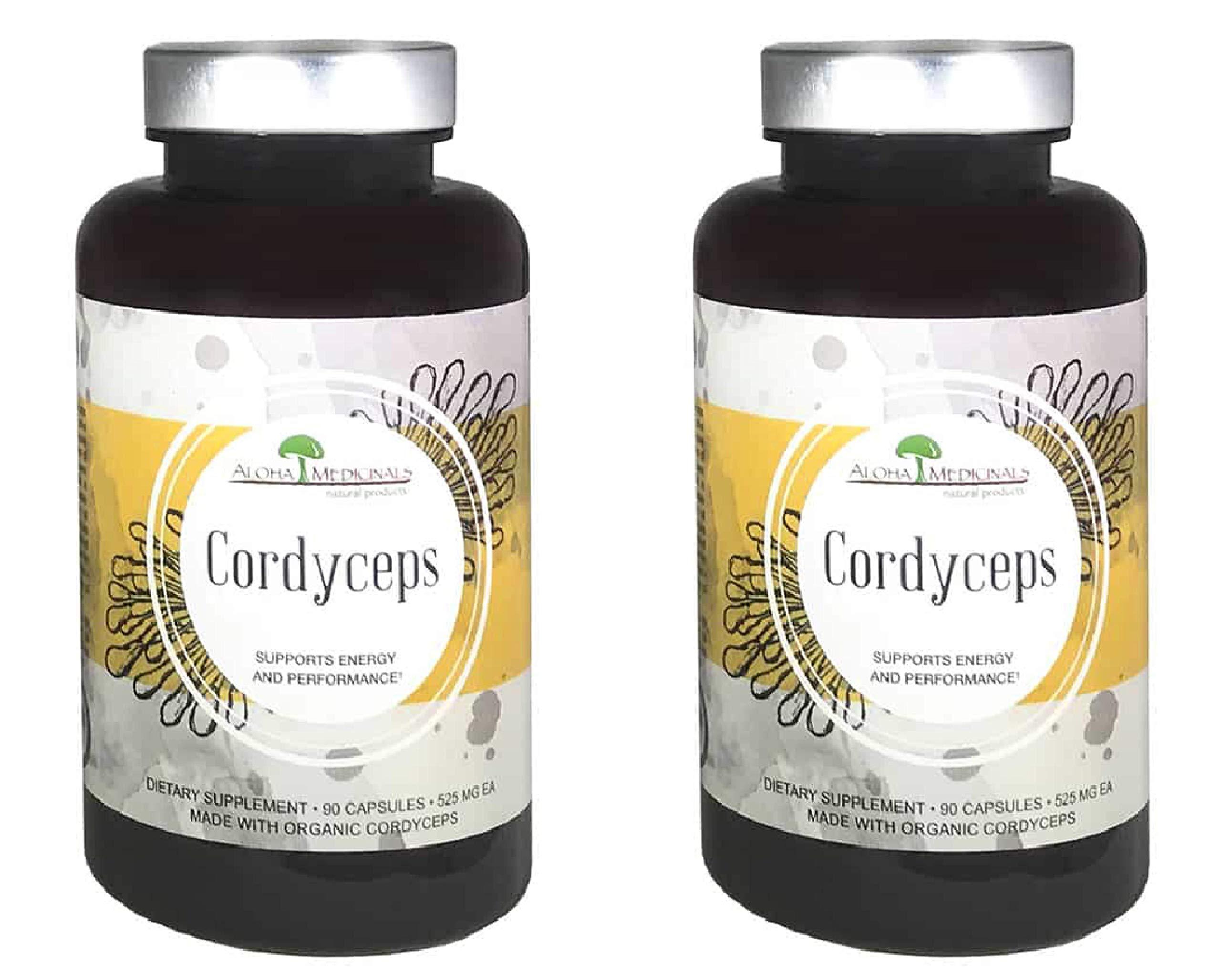 Aloha Medicinals - Pure Cordyceps - Certified Organic Mushrooms - Cordyceps Militaris - Cordyceps Sinensis - Supports Immunity, Energy and Stamina - 525mg - 90 Vegetarian Capsules (2-Bottles)