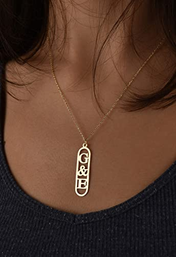 5e017a405 Image Unavailable. Image not available for. Colour: 14K Gold Dainty Necklace,  Initial Necklace Gold, Block Monogram ...