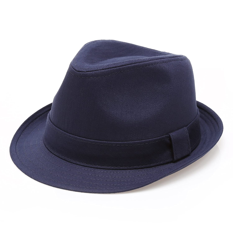 MIRMARU Classic Trilby Short Brim 100% Cotton Twill Fedora Hat with Band