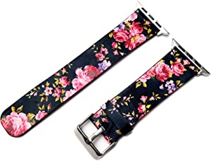 Floral FL-5 Black with Red Roses Band Compatible with Apple Watch All Series SE 6 5 4 3 2 1 Case 40mm 44mm 38mm 42mm Leather Elegant Strap (1. Black Color Buckle Adapters, 38mm Watch Case Size)