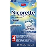 Nicorette 4mg Nicotine Gum to Quit Smoking - White Ice Mint Flavored Stop Smoking Aid, 20 Count