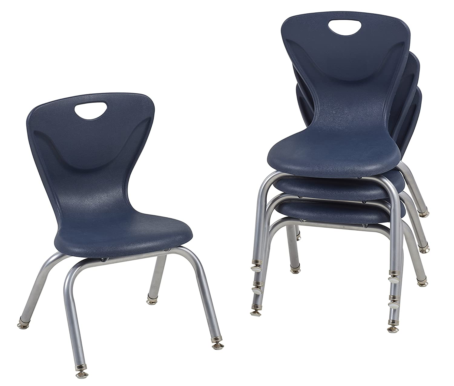 "FDP 12"" Contour School Stacking Student Chair, Ergonomic Molded Seat Shell with Chromed Steel Frame and Swivel Leg Glides; for in-Home Learning or Classroom - Navy (4-Pack)"