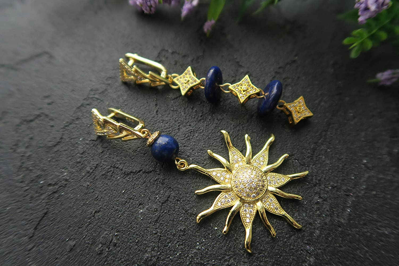 Image result for trendy asymmetrical earrings lapis lazuli