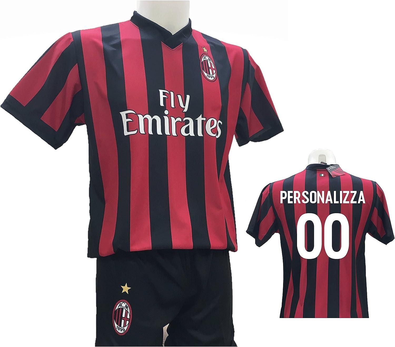 Conjunto de camiseta Milan personalizable + pantalón corto réplica autorizada 2017-2018 para niño (tallas 2, 4, 6, 8, 10, 12) para adulto (S, M, L, XL): Amazon.es: Ropa y accesorios