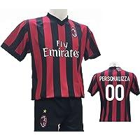 Completo Calcio Maglia Milan Personalizzabile + Pantaloncino Replica Autorizzata 2017-2018 Bambino (Taglie 2 4 6 8 10 12) Adulto (S M L XL)