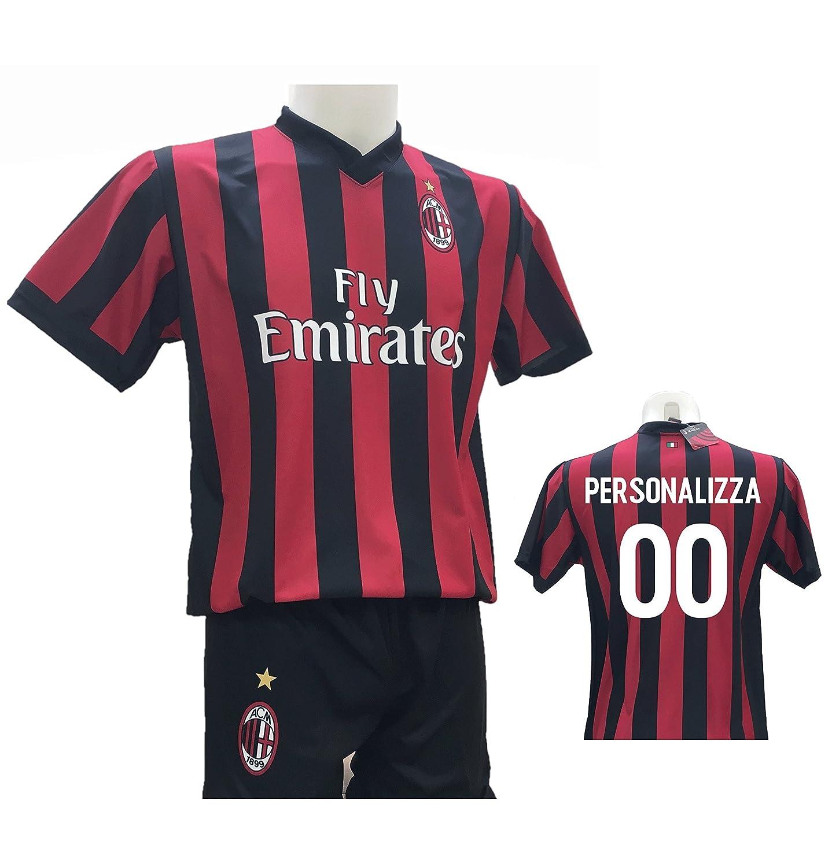 Conjunto de Camiseta de fútbol Milan Personalizable + pantalón ...