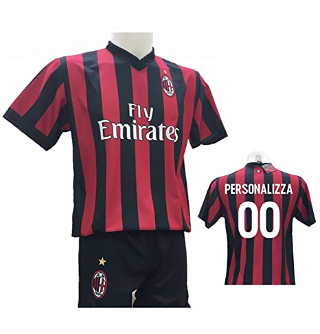ce51f4a19c9e97 Completo Calcio Maglia Milan Personalizzabile + Pantaloncino Replica  Autorizzata 2017-2018 Bambino (Taglie 2