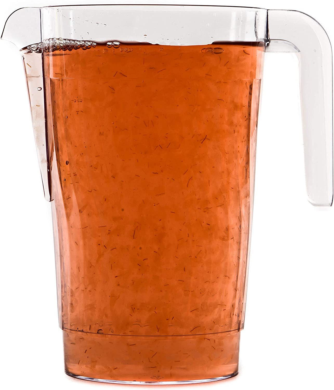 [1 PACK] 50 oz Crystal Clear Plastic Beverage Pitcher - Break Resistant Beverage Carafe - Great for Restaurants and Catering - Serveware for Water, Cold Drinks, Beer, Lemonade, Sangria (50oz)
