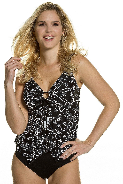 GINA_LAURA Damen | Tankini-Top | Blumen-Muster | Softcups | Unterbrustband | Zipfelform | bis Größe 50 | 710971