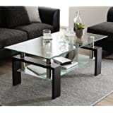 Depointer Life Glass Coffee Table, Rectangle Coffee Table for Living Room Modern Side Coffee Table with Lower Shelf…