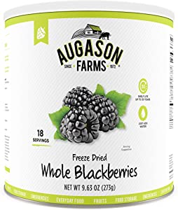 Augason Farms Freeze Dried Whole Blackberries 9.63 oz No. 10 Can
