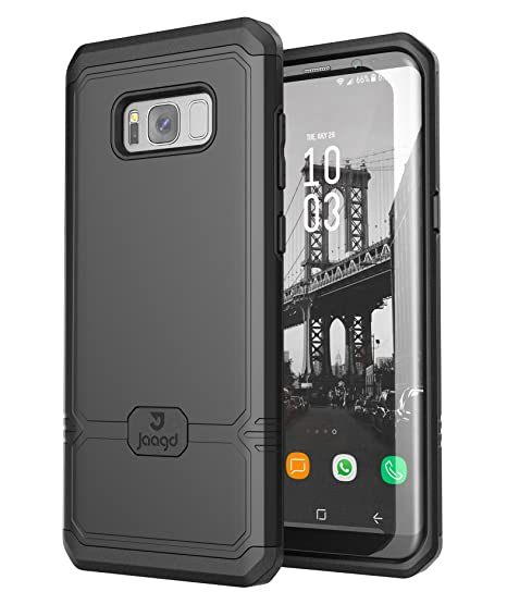 sale retailer 48f28 29ab4 Jaagd Galaxy S8 Plus Case, S8+ Case, Shock-absorbing Slim Dual-Layer Grip  Cell Phone Cases for Samsung Galaxy S8 Plus (Black)