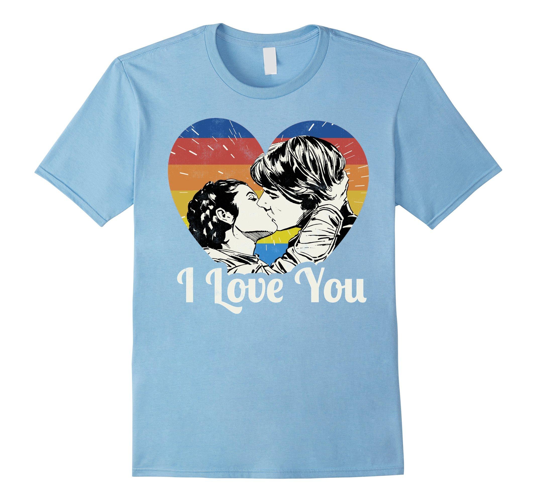Mens Star Wars Han Solo Leia Epic Kiss Rainbow I Love You T-Shirt Small Baby Blue