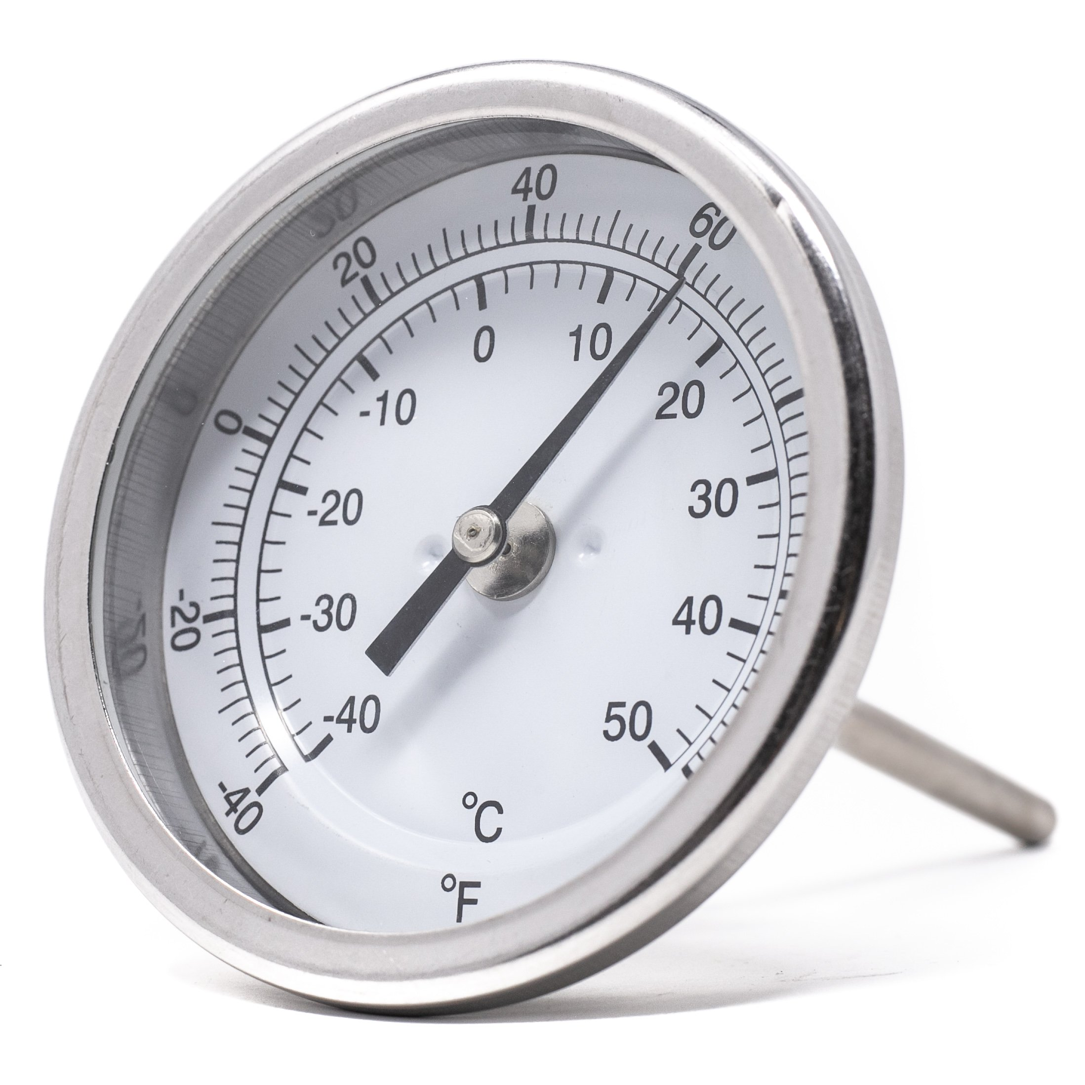 PIC Gauge B3B4-AA 3'' Dial Size, -40/120°F and -40/50°C, 4'' Stem Length, Back Angle Connection, Stainless Steel Case, 316 Stainless Steel Stem Bimetal Thermometer