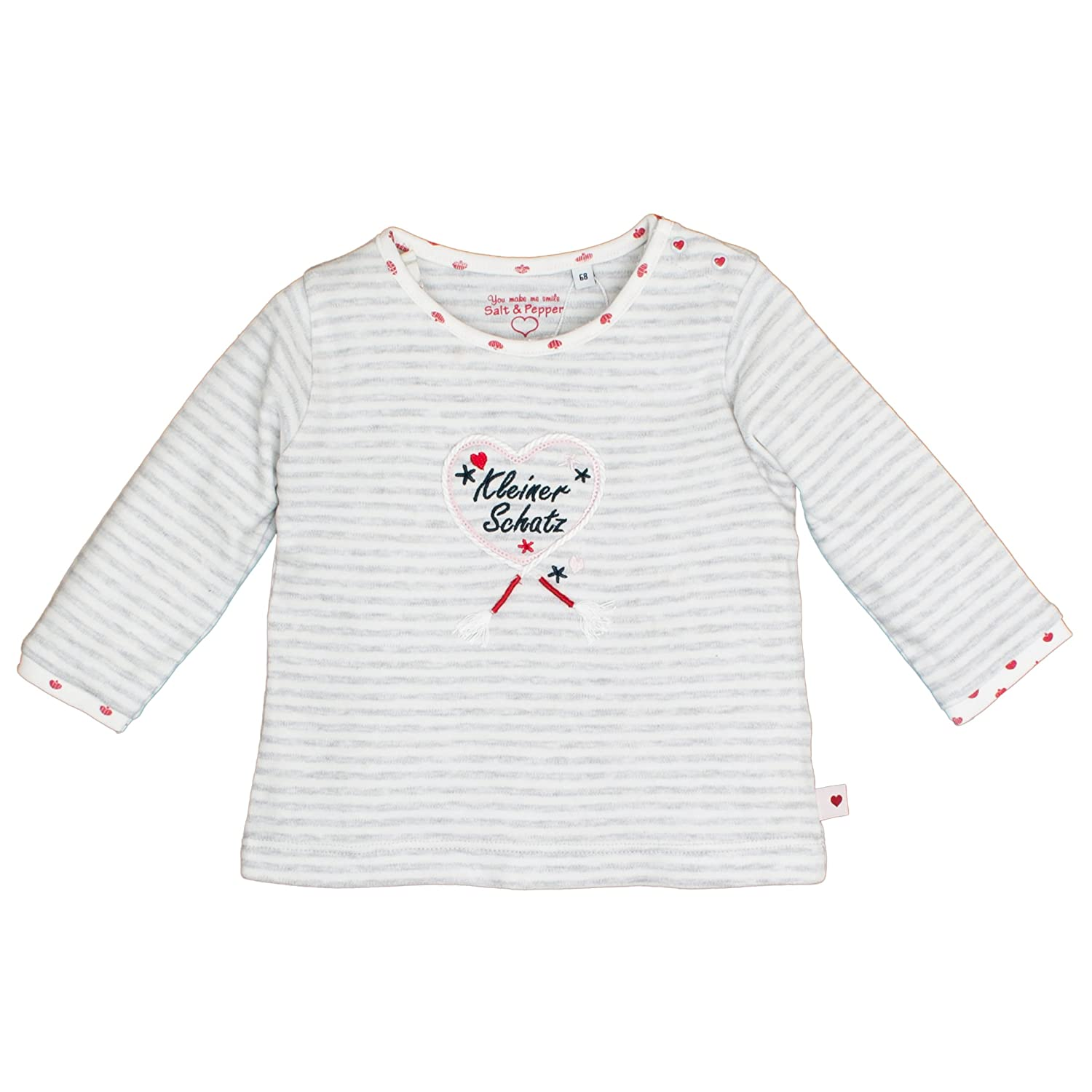 SALT AND PEPPER Baby-Mädchen Langarmshirt Nb Longsleeve Schatz Stripe 85211201