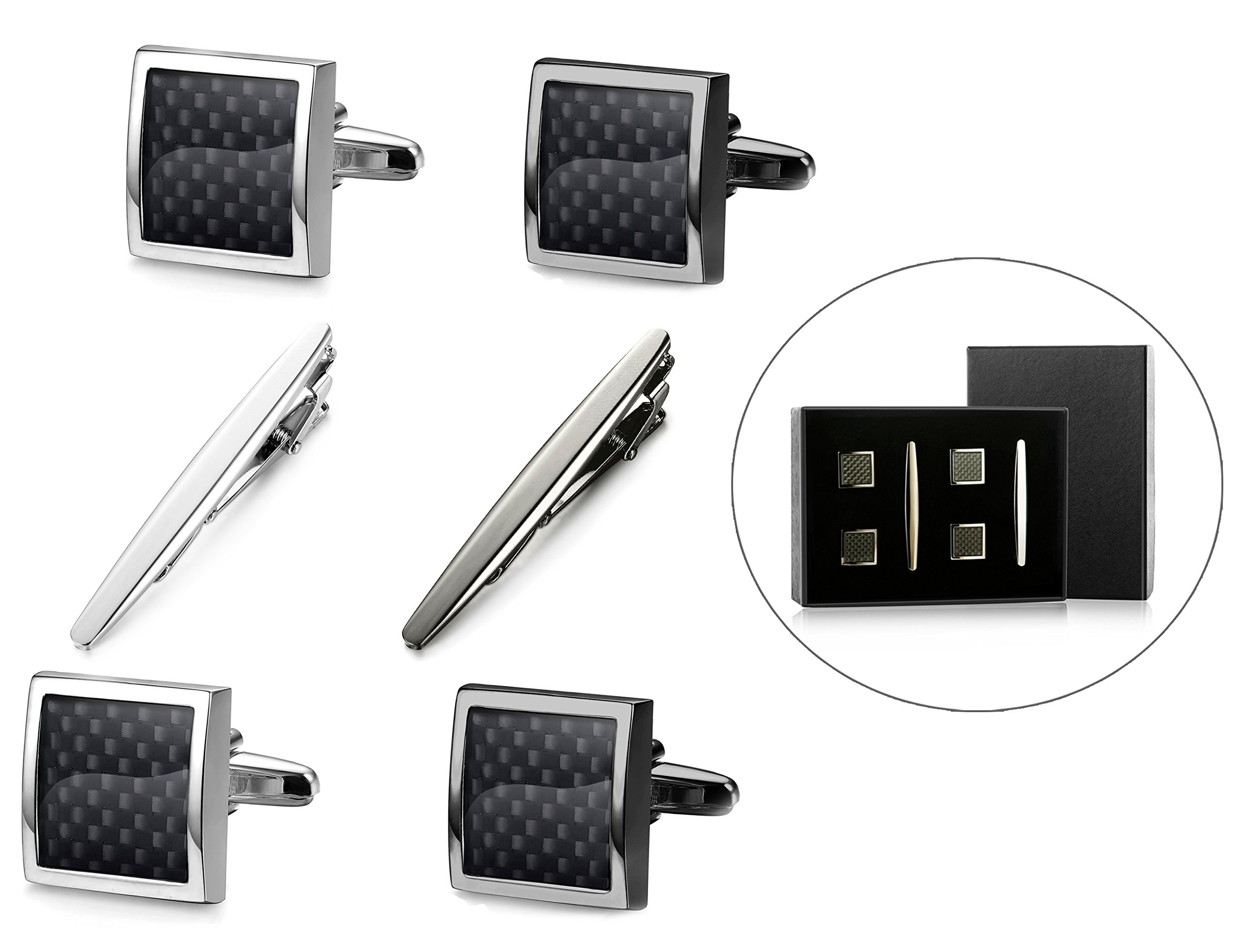 Jstyle Tie Clips and Cufflinks Set for Men Tie Bar Clip Shirt Cufflinks Carben Fiber Set with Box