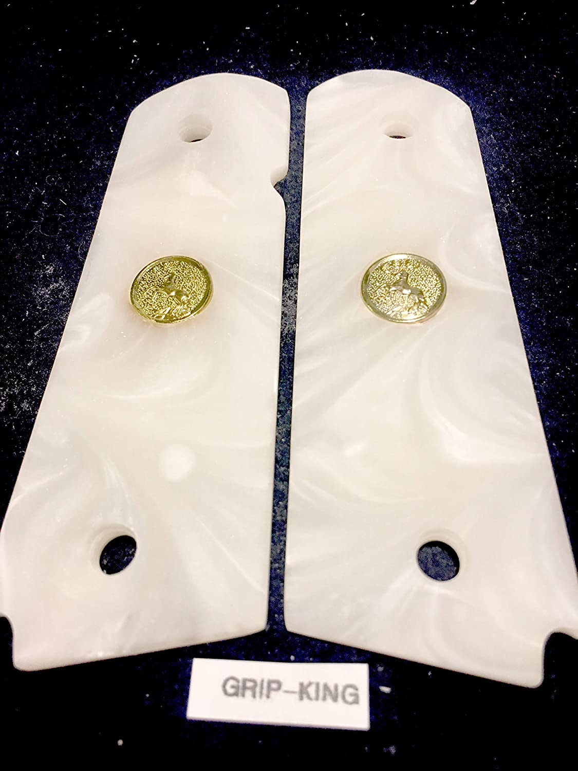GOLD  RAMPANT HORSE  MEDALLIONS SALE $33.73 WHITE PEARLIZED DEEP SHINE HI-LUSTER,FREE STANDARD SHIPPING NEXT DAY 1911 GRIPS FITS FULL SIZE COLT