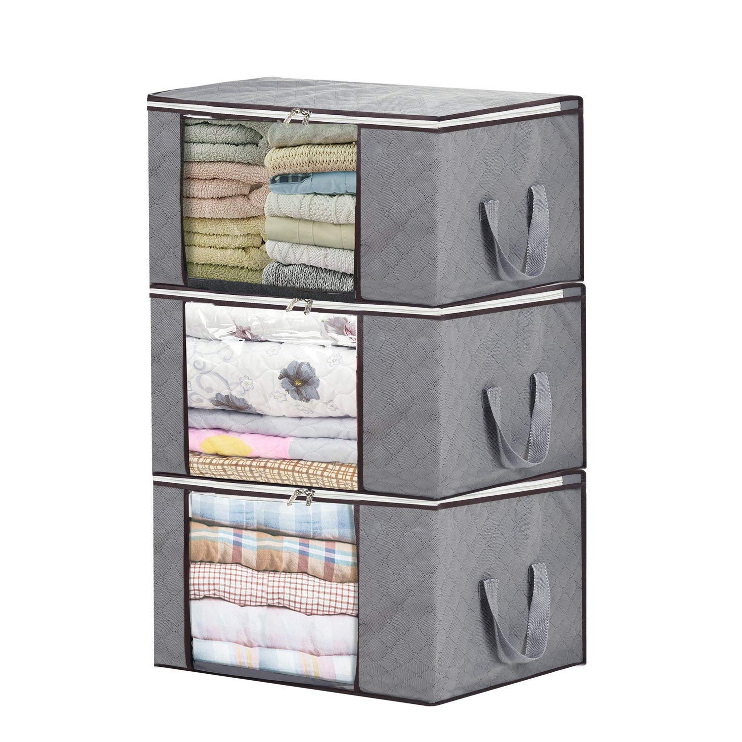 Storage Bin Clothing Organizer Bags, 3 Pcs Large Capacity Bamboo Charcoal Quilt Storage Containers with Large Clear Window for Comforters, Blankets, Bedding, Duvets, Clothes, Quilts, Pillows, Sweaters SKY DANCER
