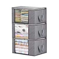 3 Piece Bamboo Charcoal Clothing Organizer Bags, Foldable Storage Zipper Bag Large Durable Closet Storage Boxes Case Container for Dresses Quilt Season Items Storage (3+Grey)