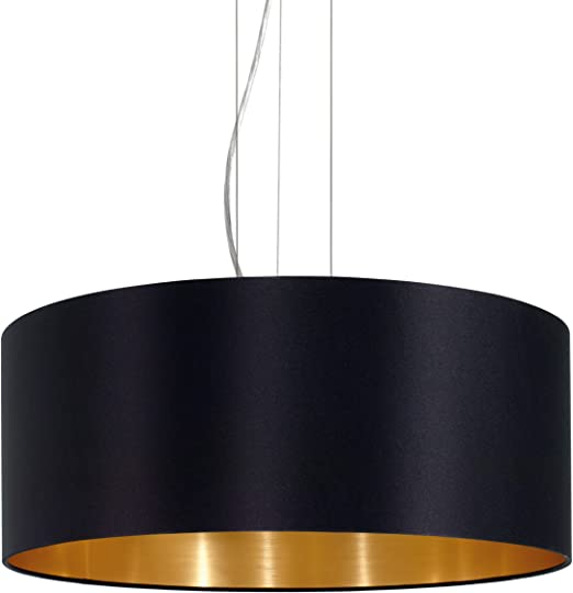 Eglo 31605 iluminaci/ón de Maserlo Di/ámetro 53 cm de n/íquel mate pantalla de acero color negro y dorado