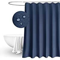 EurCross Blue Waffle Weave Fabric Shower Curtain 72 x 72 inch, Heavyweight, Water-Repellent Bathroom Shower Curtain…