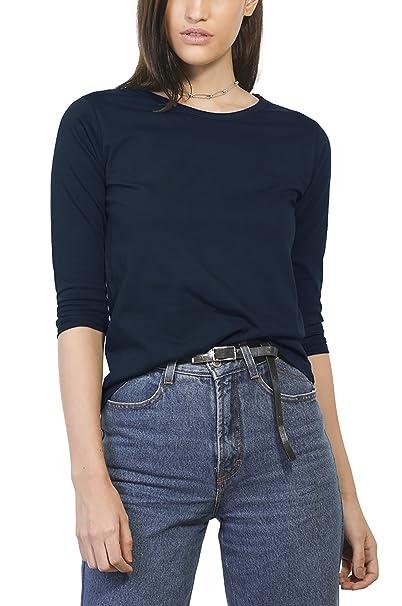 550e1d607e47a6 Amazon.com  Bewakoof Women s Navy Blue Cotton Plain Round Neck 3 4 Sleeve  T-Shirts  Clothing
