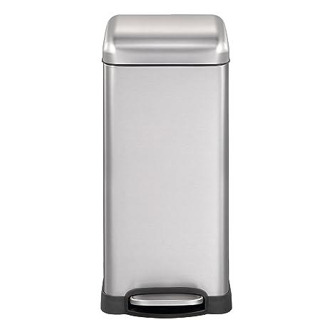 Mari Home Contenedor de Reciclaje | Cubo Basura 30L con Tapa Domo | Acero Inoxidable | Para Dormitorio, Baño, Cocina, Jardín | A Prueba de Huellas ...