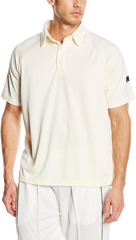 Small S Gunn /& Moore Mens Gunn and Moore Teknik Club Short Sleeve Cricket Shirt-Cream//Plain