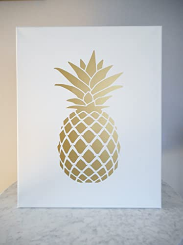 Gold Pineapple Print On Stretch Cotton Canvas Wall Art Tropical Decor