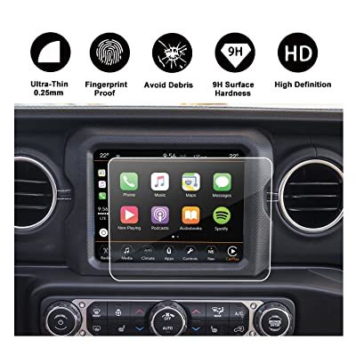2020 2020 2020 Jeep Wrangler JL Uconnect Touch Screen Protector, R RUIYA HD Clear Tempered Glass Protective Film Against Scratch High Clarity (8.4-Inch)