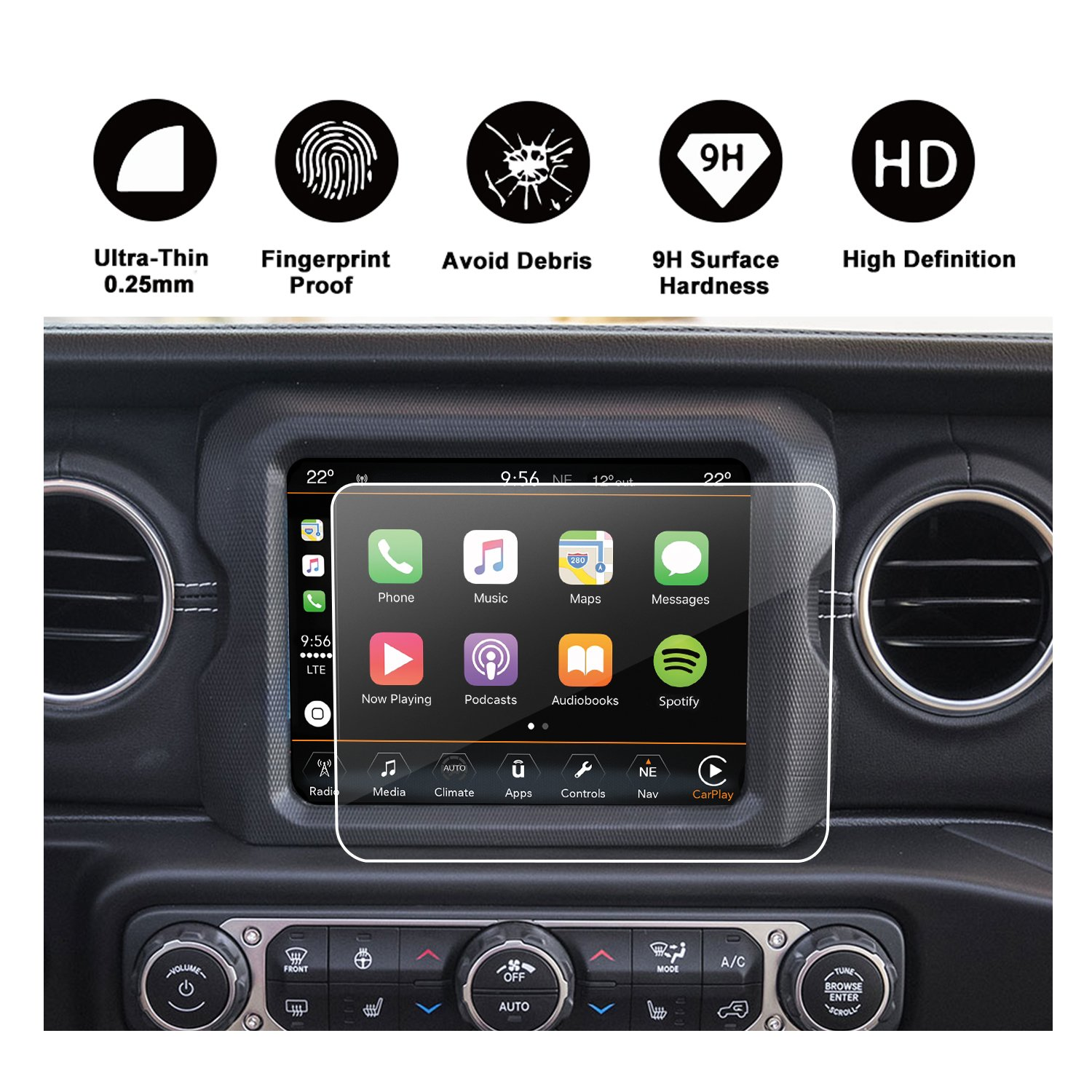 2018 Jeep Wrangler JL Uconnect Touch Screen Protector, R RUIYA HD Clear Tempered Glass Protective Film Against Scratch High Clarity (7-Inch) 2018 JW7