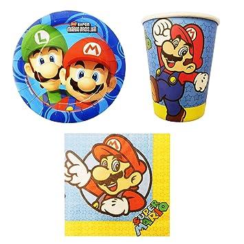 Unbekannt de 32 Piezas Super Mario Party de Juego Incluye Platos, Vasos y servilletas de Papel
