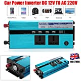 1500W Power Inverter for Car DC 12V TO AC 220V Auto Power Supply with 2 Outlets 4 USB Charging Ports Digital Display