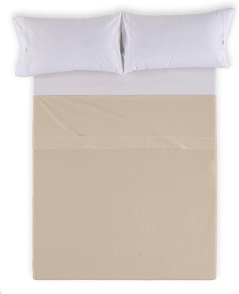ESTELA - Sábana encimera Combi Liso 200 Hilos algodón Peinado, Color Piedra - Cama de 90 cm. - 100% Algodón - 200 Hilos: Amazon.es: Hogar