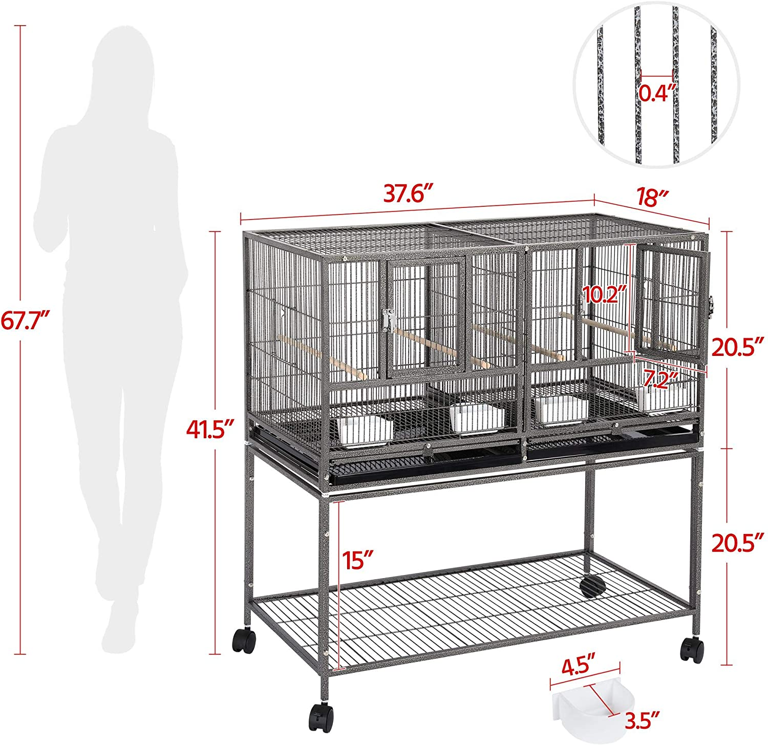 YAHEETECH Pack of 3 Stackable Divided Breeder Breeding Parakeet Bird Cage for Canaries Cockatiels Lovebirds Finches Budgies Small Parrots with Rolling Stand