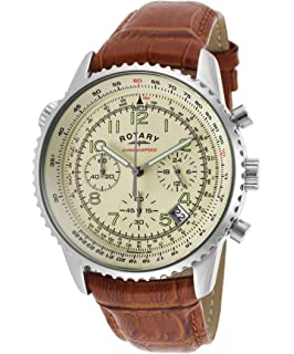 edbc00948737 Rotary Mens Analogue Classic Quartz Watch with Leather Strap GS05257 ...