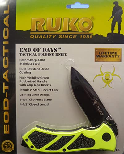 Ruko RUK0061HG-CS, 440A, 3-1 4 Folding Blade Hunting Knife, High Visibility Green Handle, Clamshell
